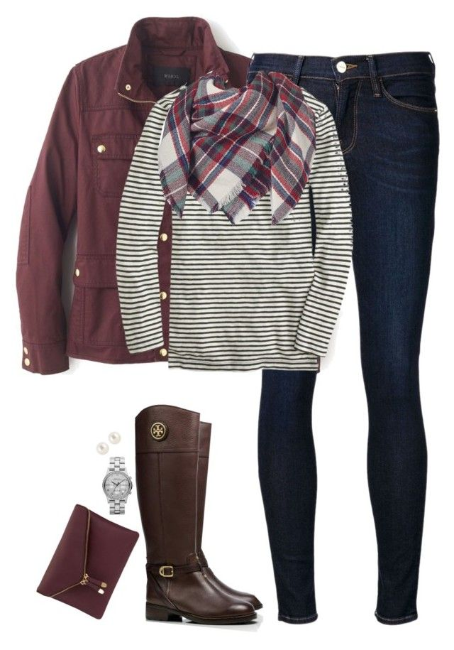 """""""Blanket scarf, stripes & burgundy"""" by steffiestaffie ❤ liked on Polyvore featuring J.Crew, Frame Denim, Apt. 9, Tory Burch, Henri Bendel and Marc by Marc Jacobs"""