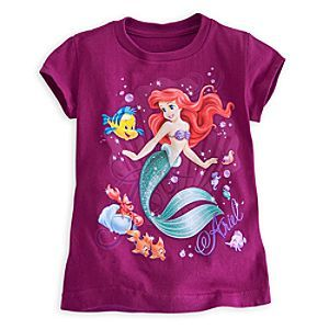 Disney Ariel and Friends Tee for Girls   Disney StoreAriel and Friends Tee for Girls - Flounder, Sebastian and all of Ariel's undersea kingdom invite your little mermaid to be part of their world every time she puts on this glitter-adorned comfy tee.