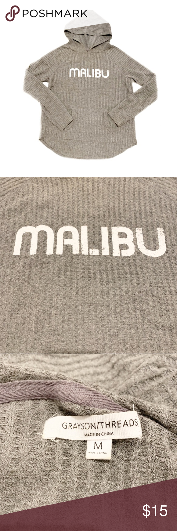 Malibu Hooded Thermal Gray Malibu thermal hoodie. Worn once. Excellent condition!  Supper comfortable and flattering cut   Boho beach pool party music festival gypsy concert sexy girly flirty fun photo model night out resort spring break honeymoon cover up poolside resort lounging spell bohemian hippy gray hoody hoodie revolve activewear athlesiure Tops #beachhoneymoonclothes