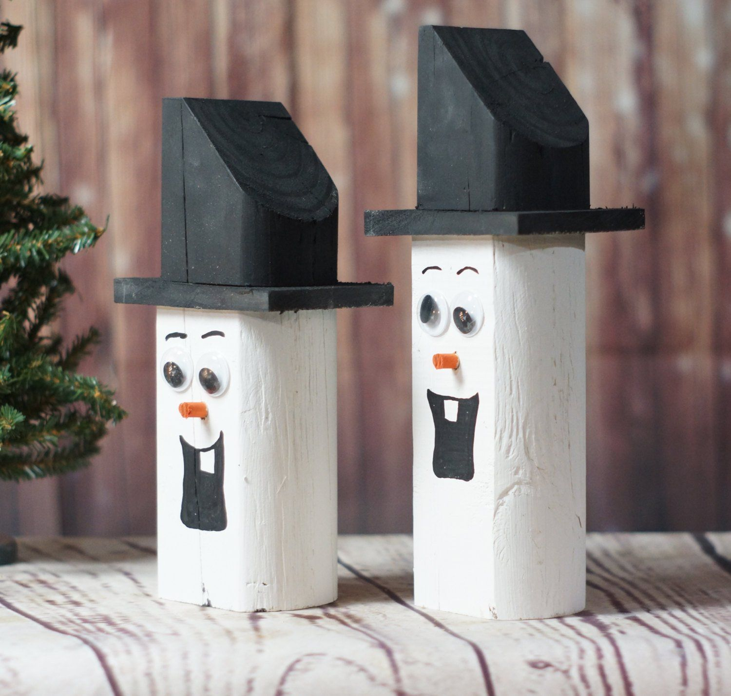 Wooden Snowman  Christmas Mantle Decorations  Rustic Christmas Decor