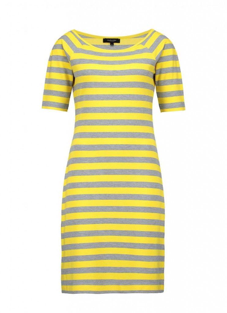 Jersey jurk met gele strepen