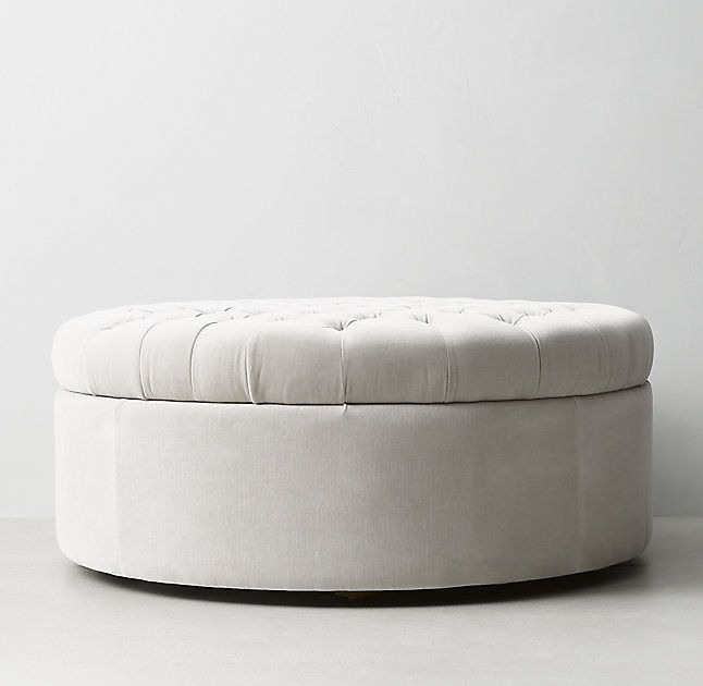 Superior Tufted Large Round Storage Ottoman