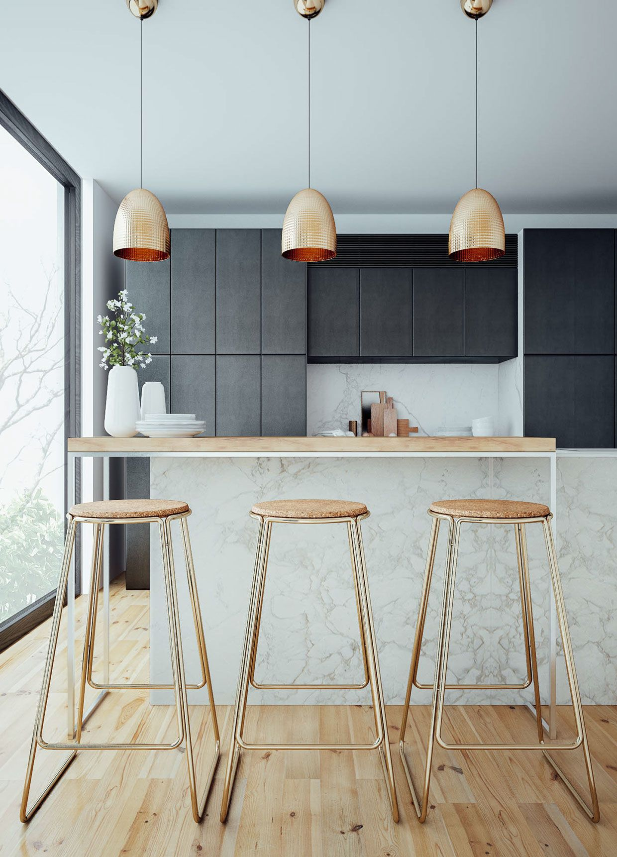 Copper And Brass Make These Bar Stools A Beautiful Statement Piece - Kitchen pendant lighting brass