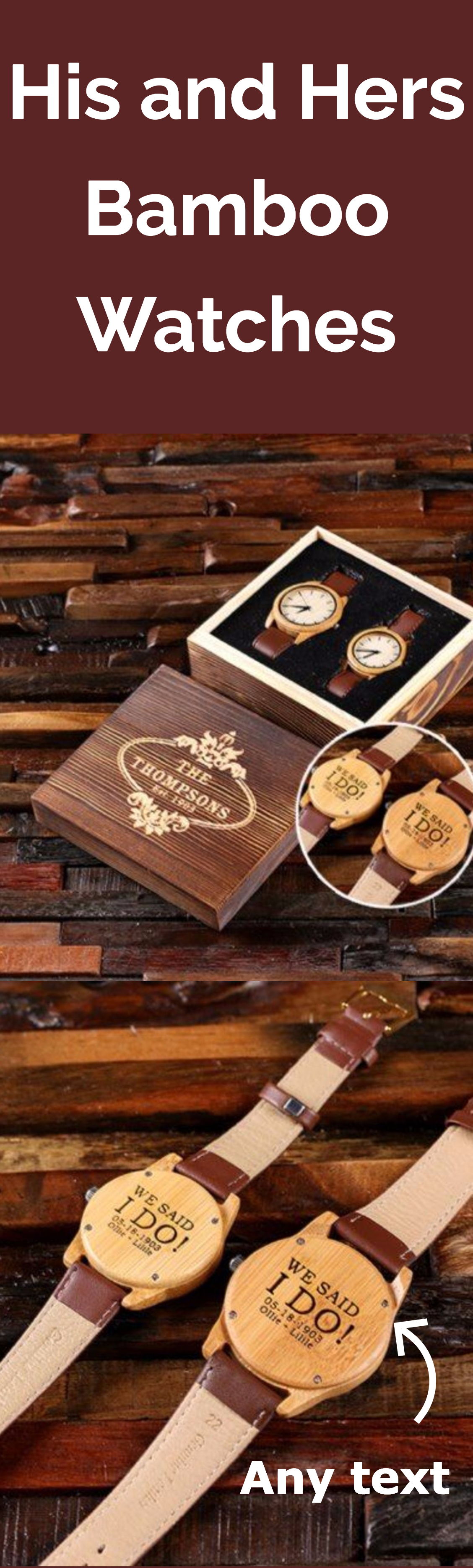 Engraved gift box w his hers bamboo watches zazzle