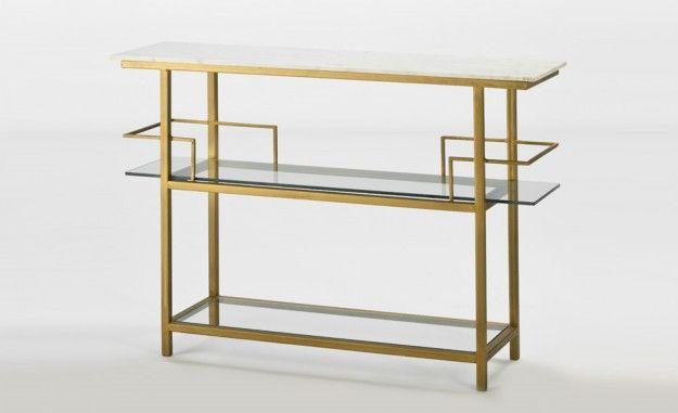 Consola Cristal;Marmol Blanco;Metal Bronce - Muebles y decoración de Lujo en Madrid | Decoradores online | Friso Decoración