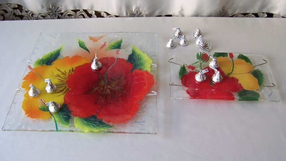 Art Glass Fusion Plate Set Wall Hanging Hawaii