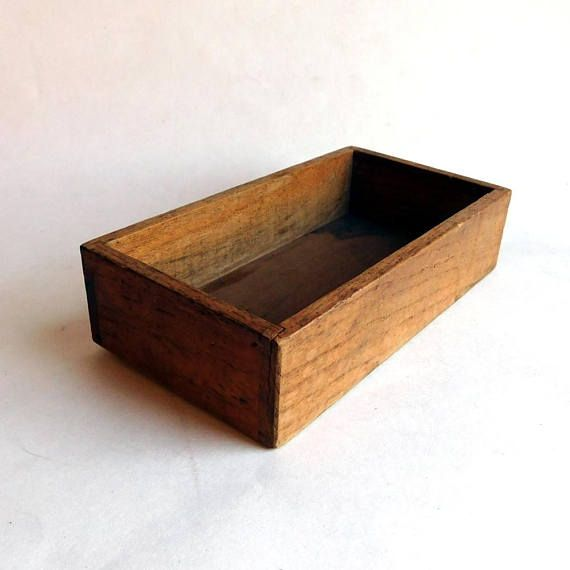Vintage Antique Primitive Hand Carved Wooden Box Mortise And Tenon