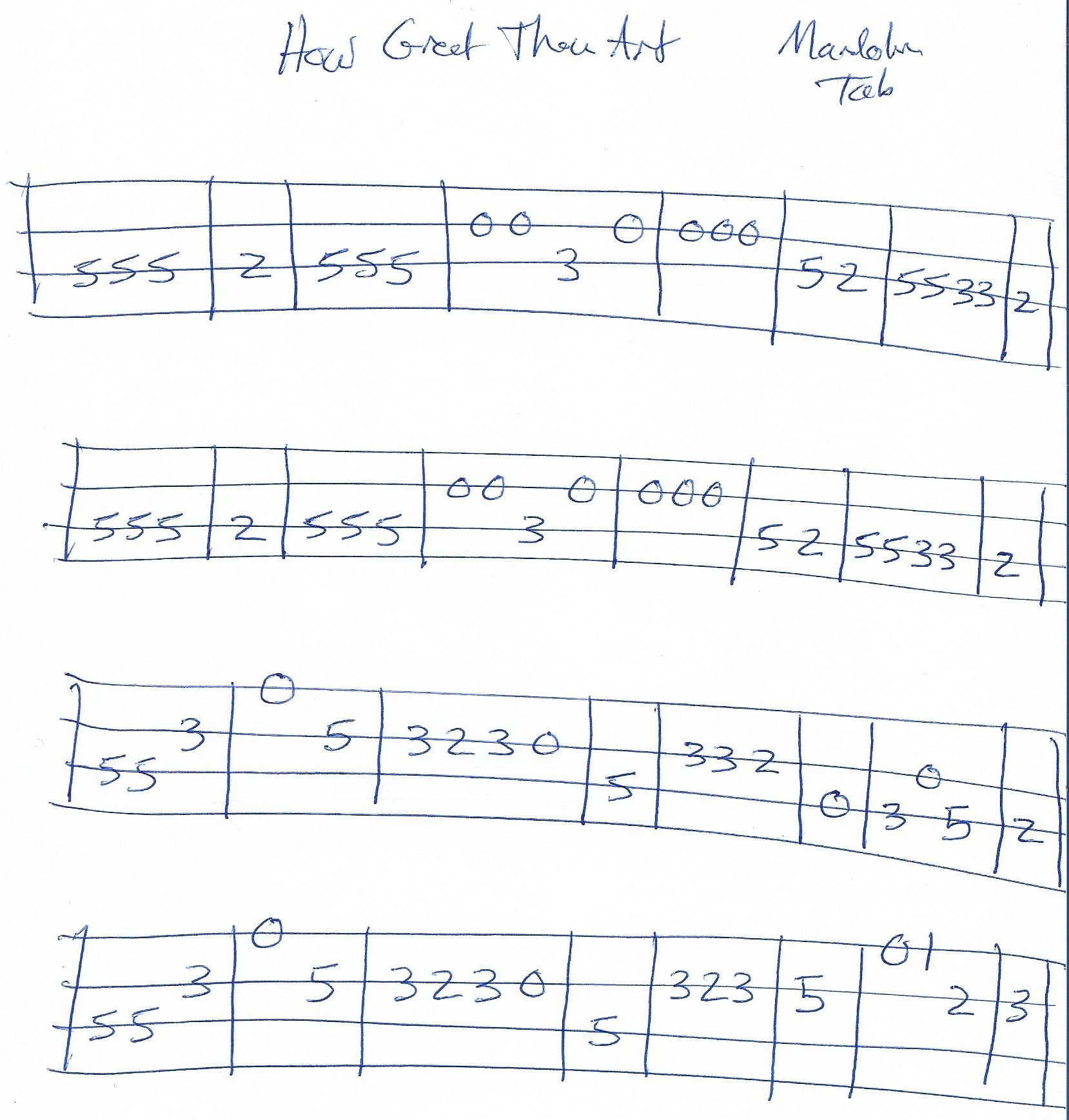 How Great Thou Art Mandolin Tab C Major With Images