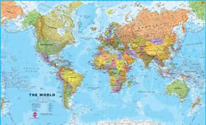 Mapamundi mural pster poltico el mundo 136x100 deco world megamap laminated wall map x in pin up the world megamap laminated wall map x in in any room or classroom this large political map features gumiabroncs Images