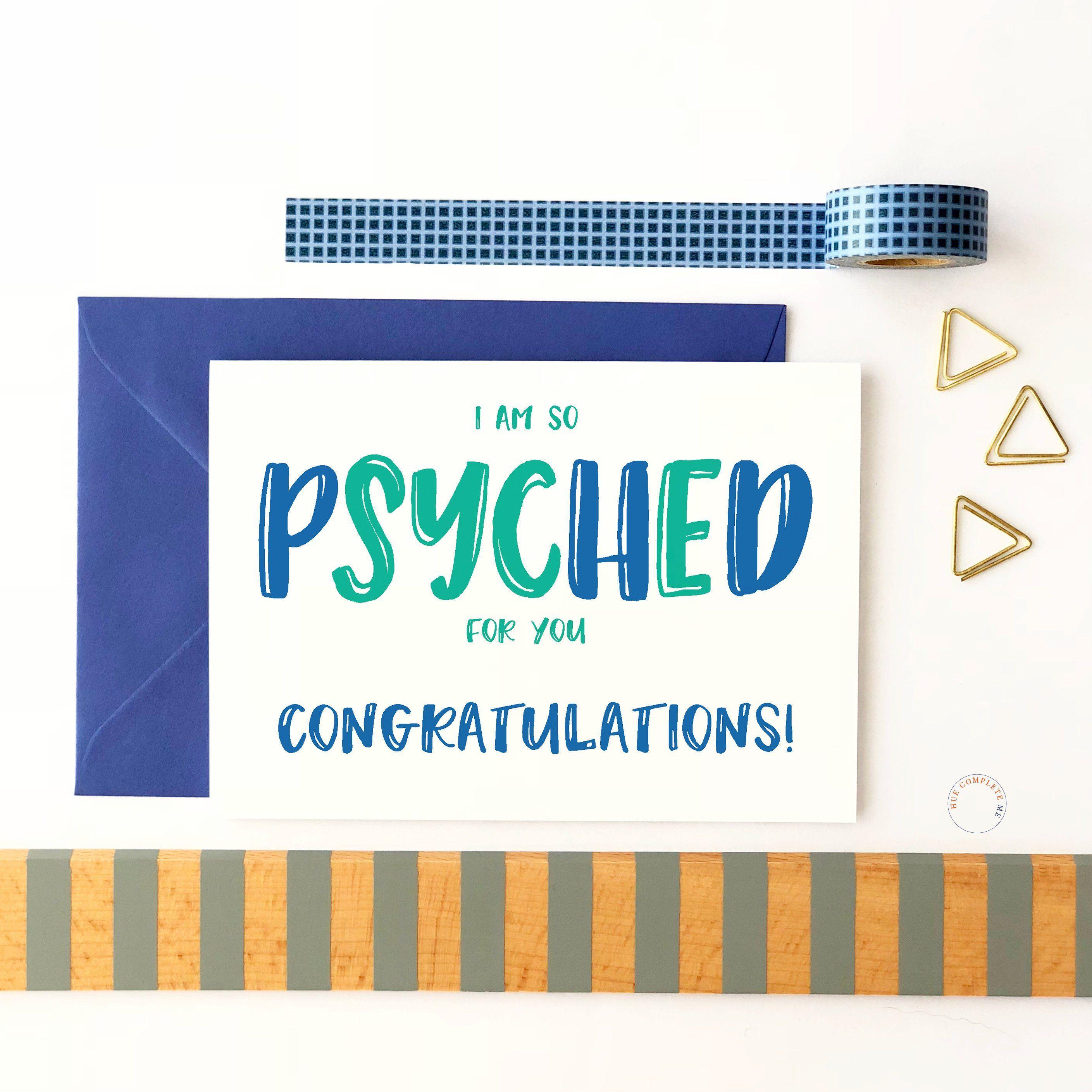Funny Phd Card So Psyched Phd Grad Card Phd Card Doctorate