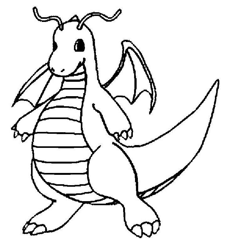 Pokemon Coloring Pages Dragonite Warna
