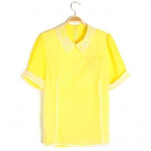 Yellow Short Sleeves High Neck T-shirt