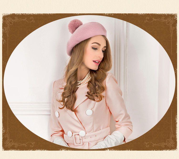 Winter 100% Wool Felt Berets For Women Artist Boina Gorras Planas Flat Cap  Female Stewardess hats f4a4b2a9af9