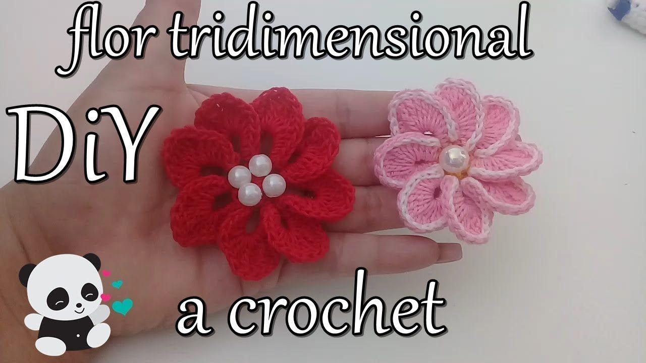 Tutorial Diy Como Hacer Una Flor Tridimensional A Crochet Flor 2 - Como-hacer-una-flor-a-crochet