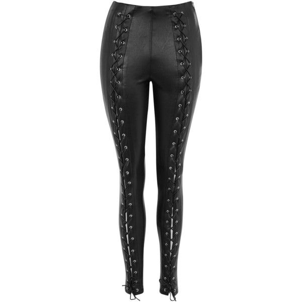 b76bf92c74ca5e TopShop Faux Leather Lace Up Skinny Trouser ($85) ❤ liked on Polyvore  featuring pants, black, legging pants, lace-up leggings, lace up pants, lace  up front ...