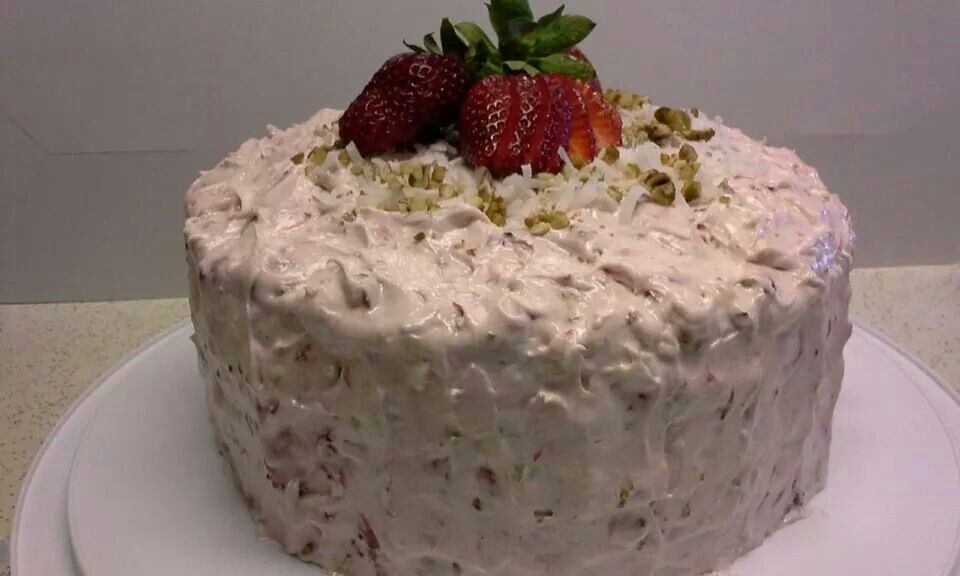 Strawberry Cake Jello Pecans Coconut