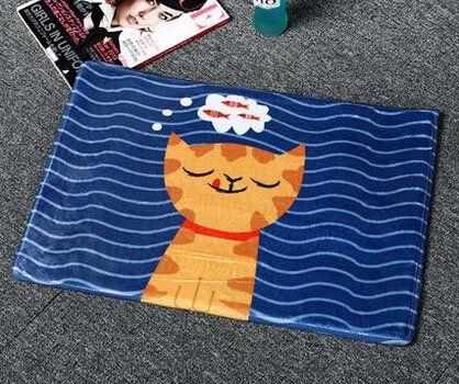 Glutton Cat Missing Fish Print Flannel Area Rug Cartoon N…