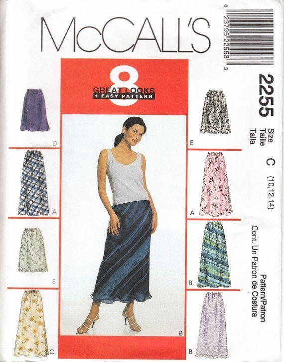 McCalls 2255 Bias Skirt Elastic Waist Calf Length and Knee