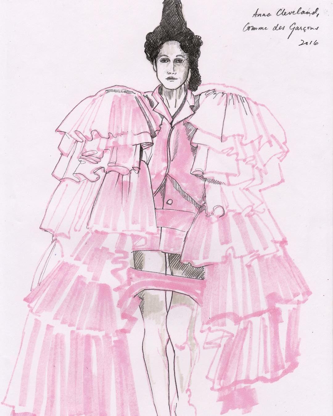 Sketch, Anna Cleveland for @commedesgarcons 💥 #commesdesgarcons #fashion #readytowear #fall2016 #art #sketch #sketchbook #artist…