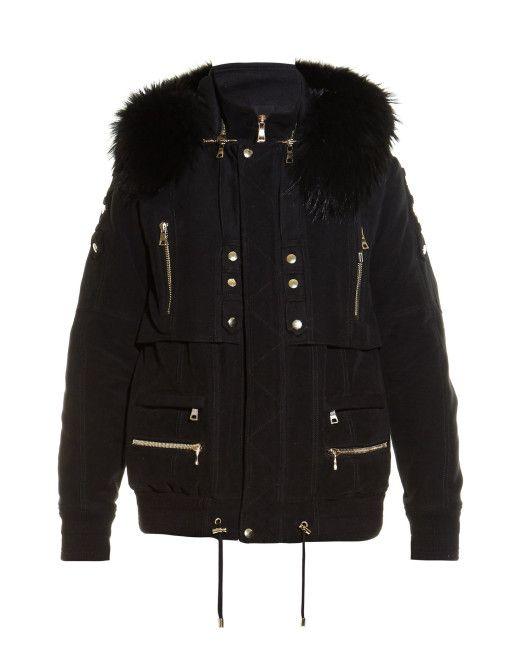 Men's Black Fur-trim Hooded Parka Jacket