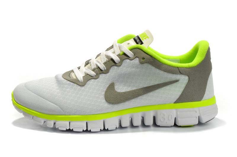 lowest price 743c2 48342 White Grey Green Nike Free 3.0 V2 Running Shoes
