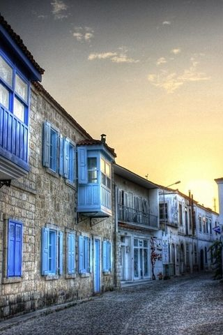 Download Free Alacati Blue Houses In Turkey Iphone Wallpaper Mobile