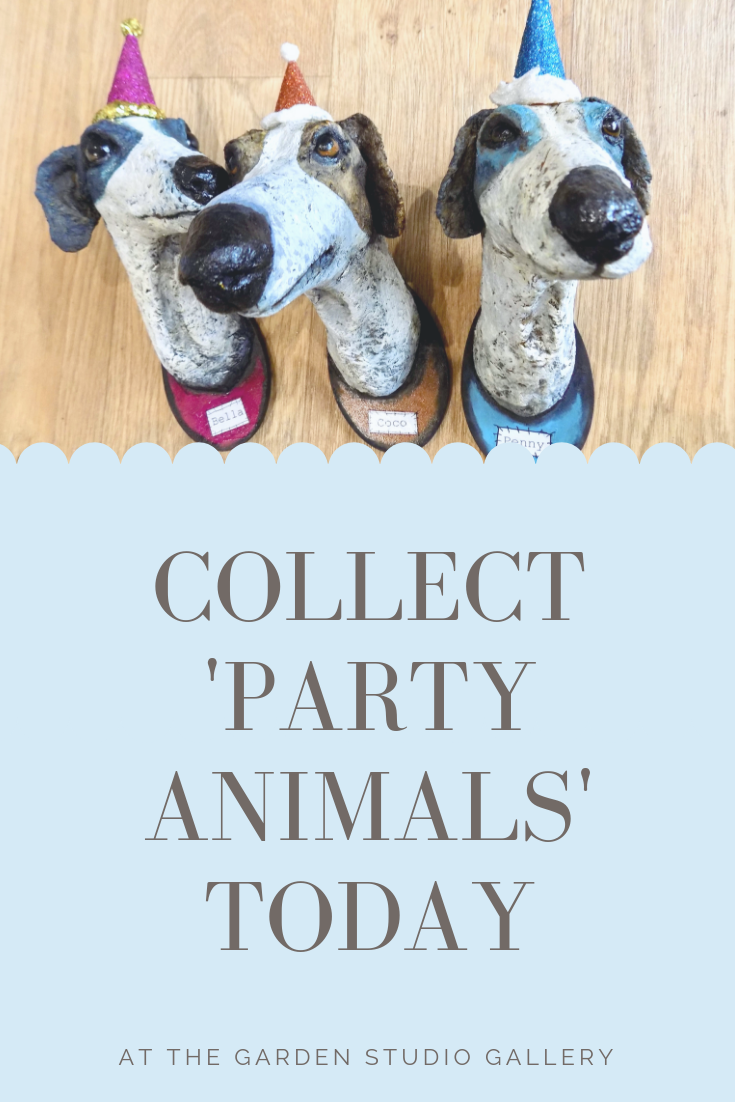 Fun party dogs now available at the Garden Studio Gallery