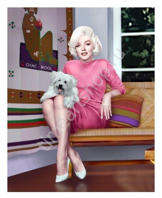 Мэрилин с собачкой, картина-раскраска по номерам на холсте ...