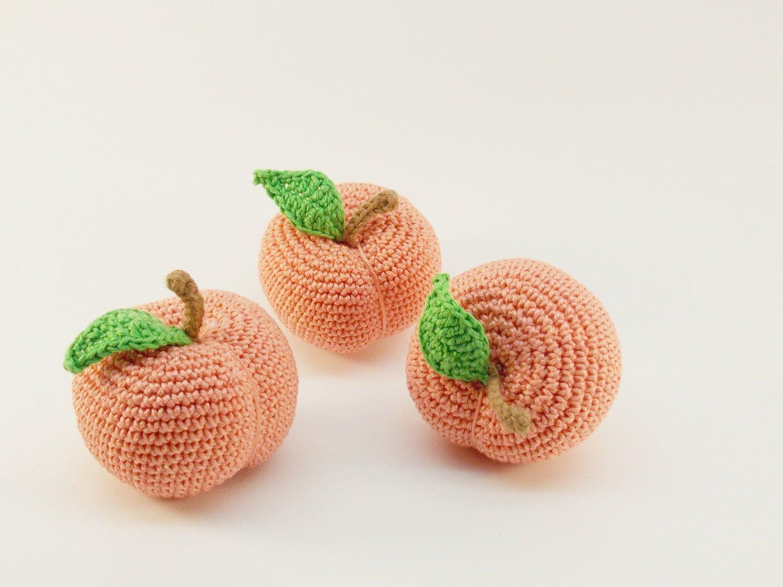 Crochet Peach Teething Rattle