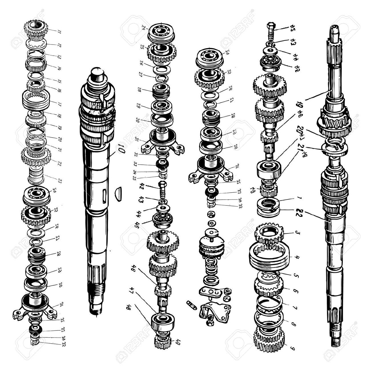 9510898-technical-drawing-or-blueprint-of-gears-on-white