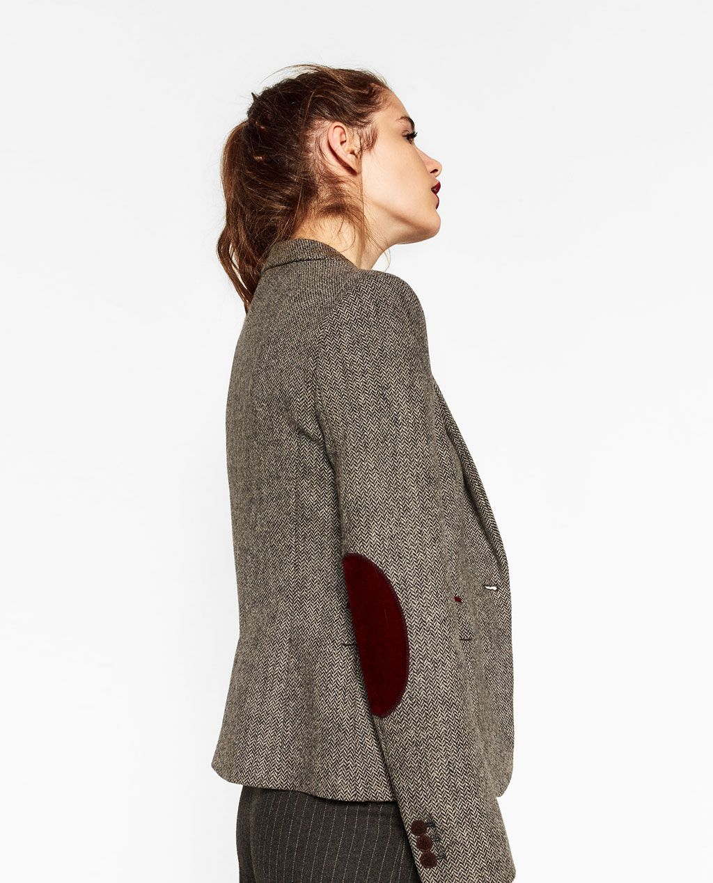herringbone blazer with elbow patches new in woman zara united states fashion work wear. Black Bedroom Furniture Sets. Home Design Ideas