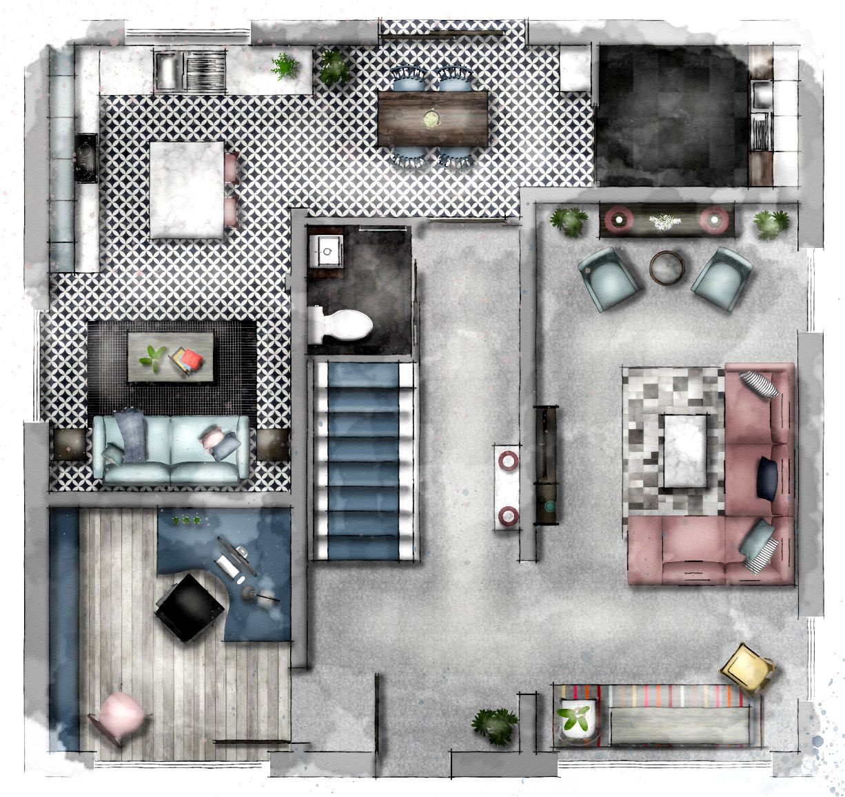 7 Rendering Floor Plans Elevations Interior Design Sketches