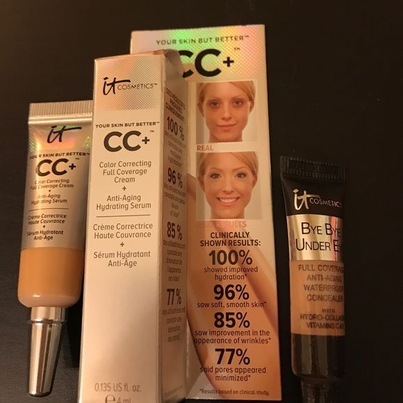It Cosmetics CC+ & Bye Bye Under Eye Both Medium. It Cosmetics CC+ Full Coverage Cream 4 ml and Bye Bye Under Eye 3.25ml Both Medium. New. Good Size Samples. The Concealer will last you months it only takes a tiny bit. I really love the Concealer/Brightener Duo I have for sale.  I haven't used any other concealer since I opened that. This is just a sample of the It Cosmetics line. I truly love it. Sephora Makeup Concealer
