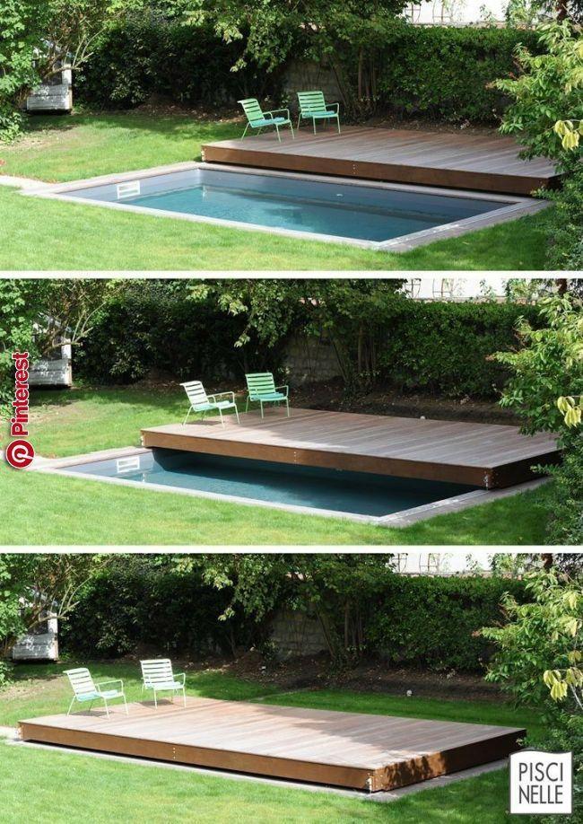 Deck Design Idee Dieses Erhöhte Holzdeck Ist Eigentlich Eine Schiebbare Poolabdeckung Co Container Gartenarbeit Backyard Backyard Pool Small Backyard Pools