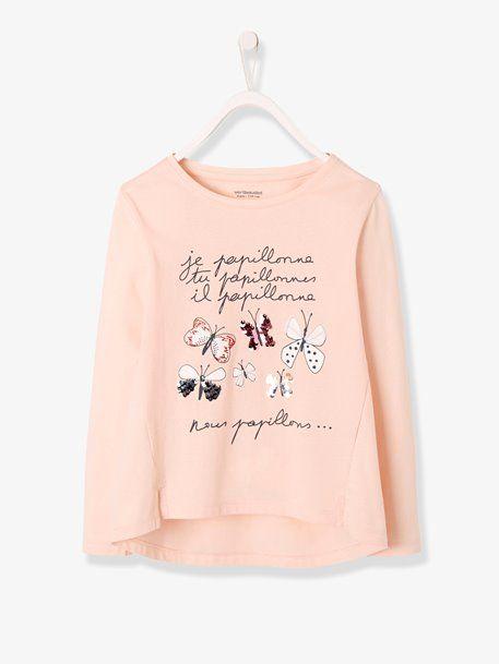e9c0eb270f51f T-shirt sequins réversibles fille manches longues - vertbaudet enfant