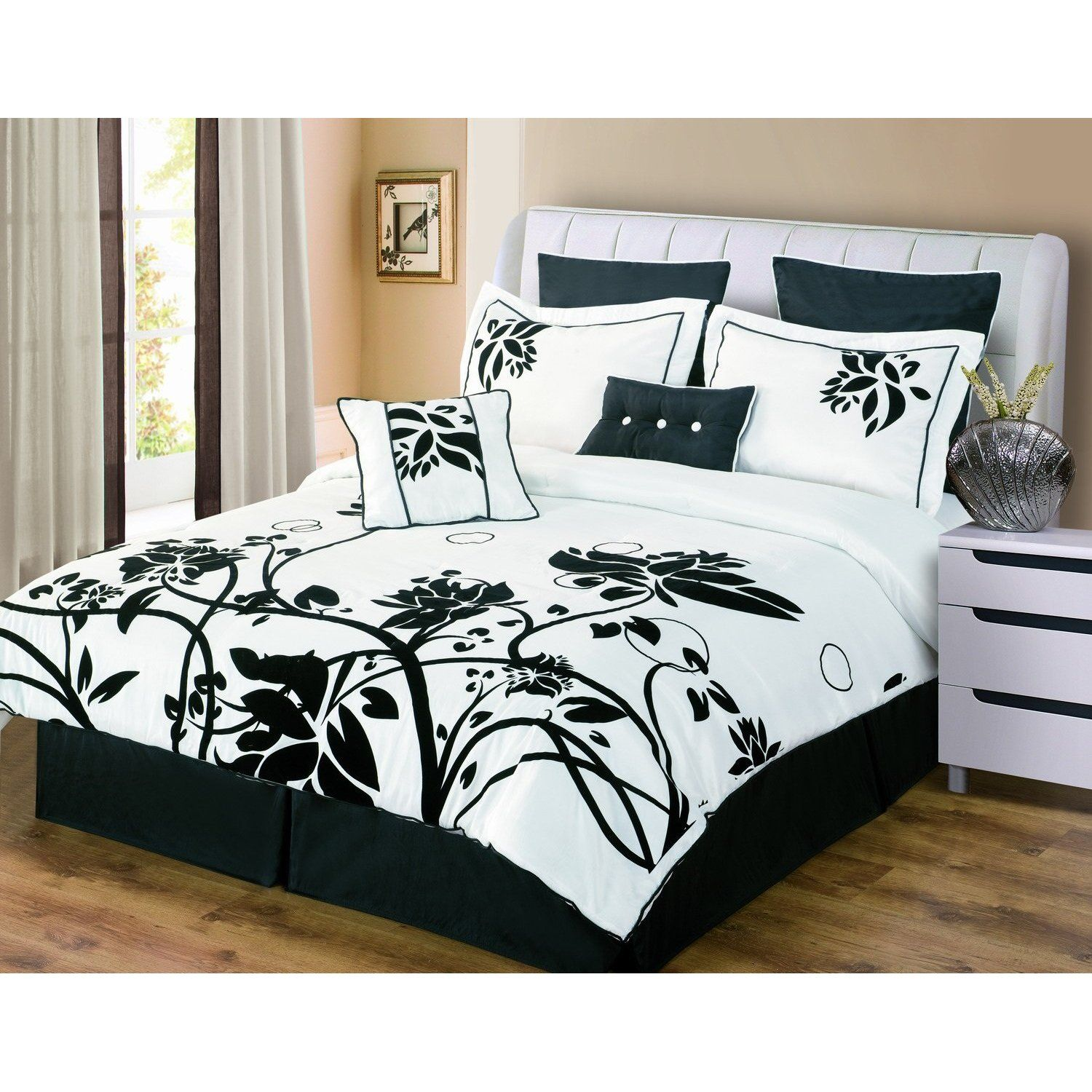 Genial Luxury Home Chelsea 8 Piece Flocked Comforter Set In Black / White: Bedding