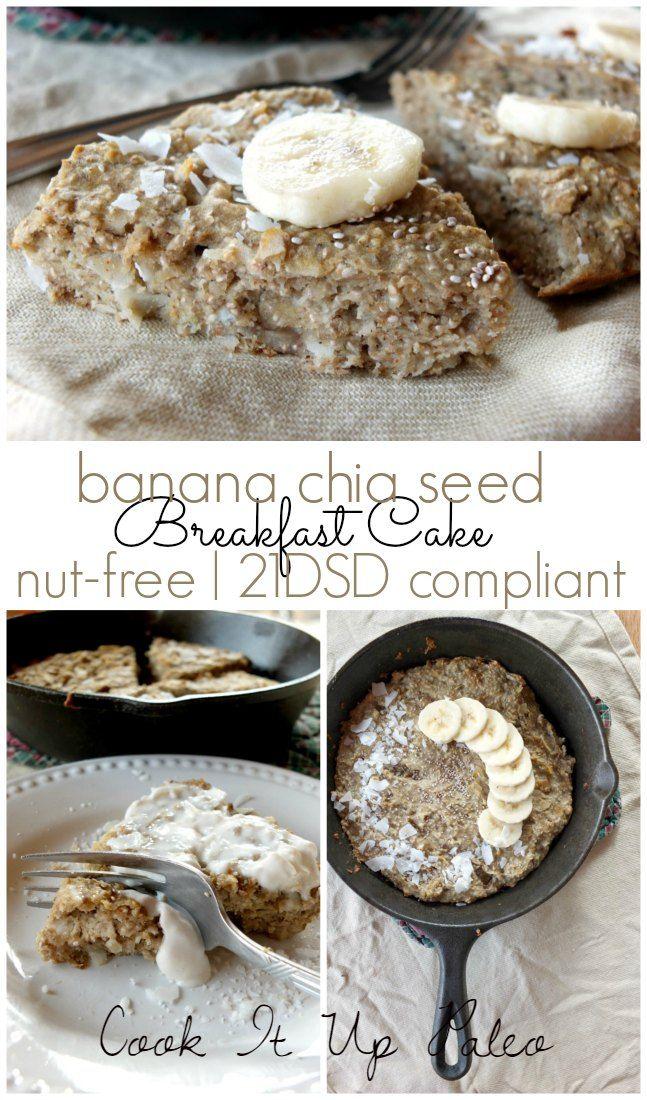 Banana Chia Seed Paleo Breakfast Cake (nut-free, 21DSD-compliant)