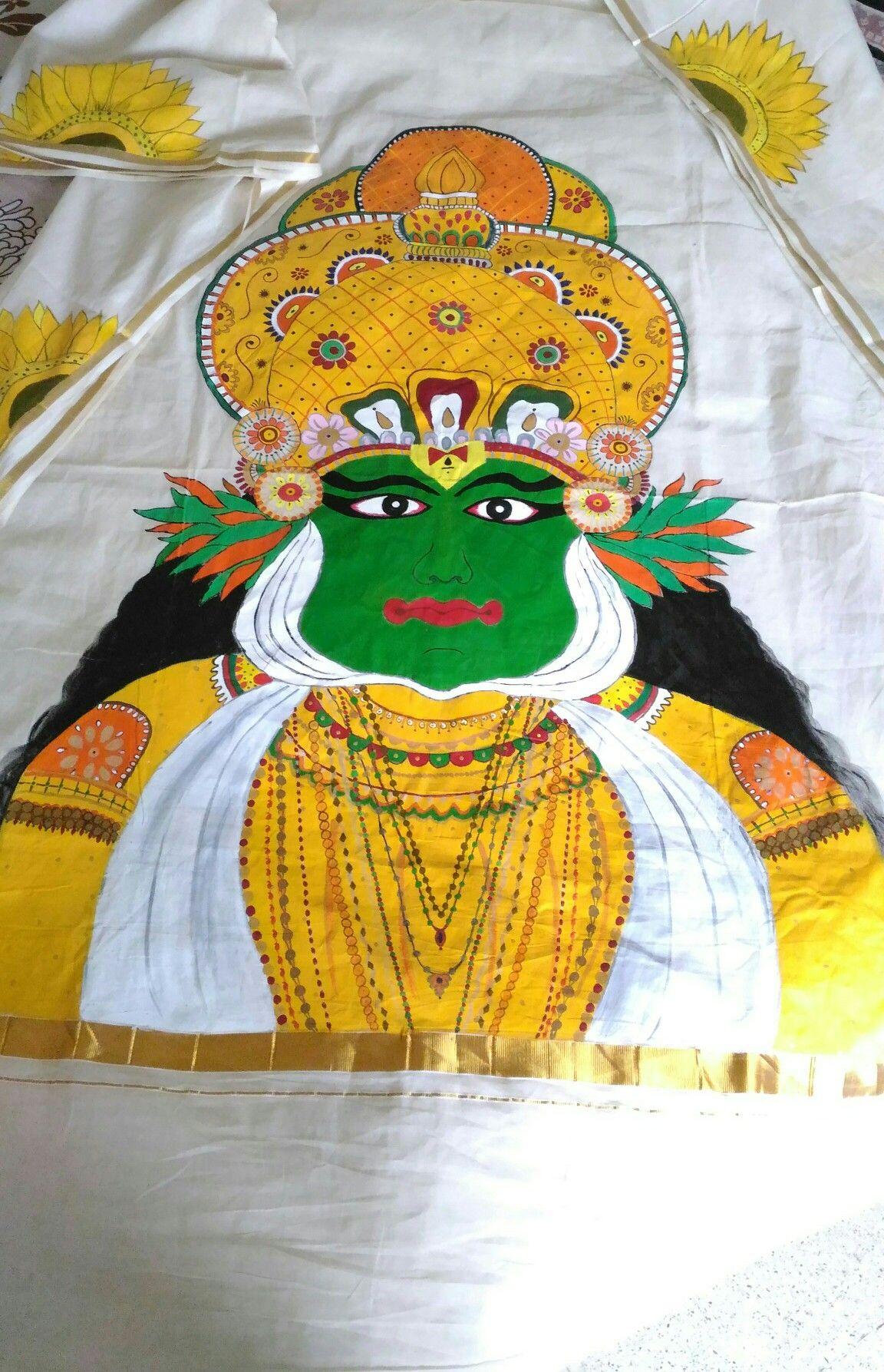 Kathakali on kasavu saree ...Varada Dilip   Handmade by Varada ...