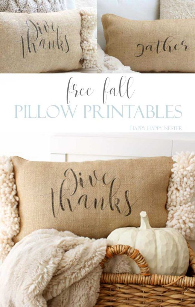 Easy Free Fall Printable with a new-sew burlap pillow. Perfect for the Fall. #decor #crafts #printable #freeprintable #diy