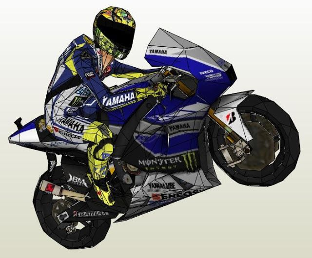 Papermau Valentino Rossi With Yamaha Yzr M1 Paper Model By