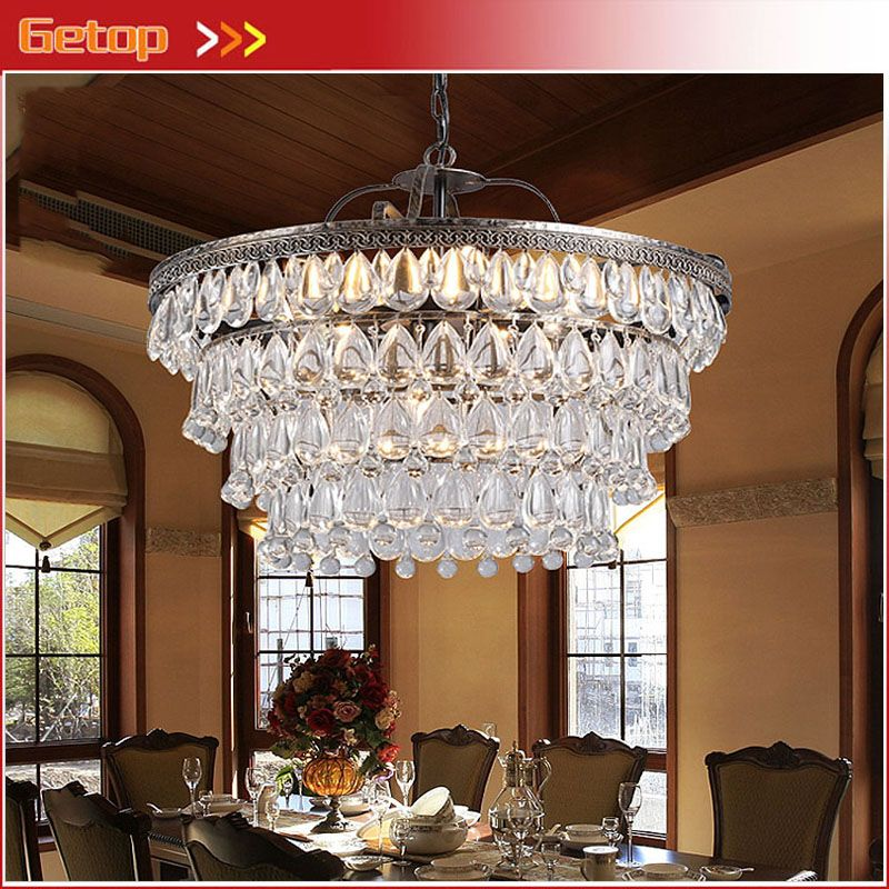 Modern Luxury Waterdrop Crystal Led Circular Pendant Lamp American Retro Crystal Chain Light Crystal Lighting Dining Room Pendant Pendant Lighting Dining Room