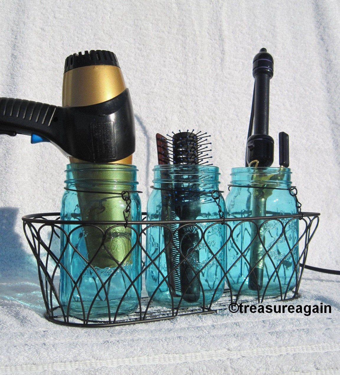 Mason Jar Hair Station Caddy Bathroom Organizer Storage Organization Vanity Or Dorm Room Hair Styling Tools Organizer Jar Color Choice In 2020 Hair Tool Organizer Bathroom Organisation Hair Stations