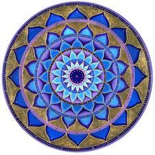 Mandala - blue, lotus-shaped petals