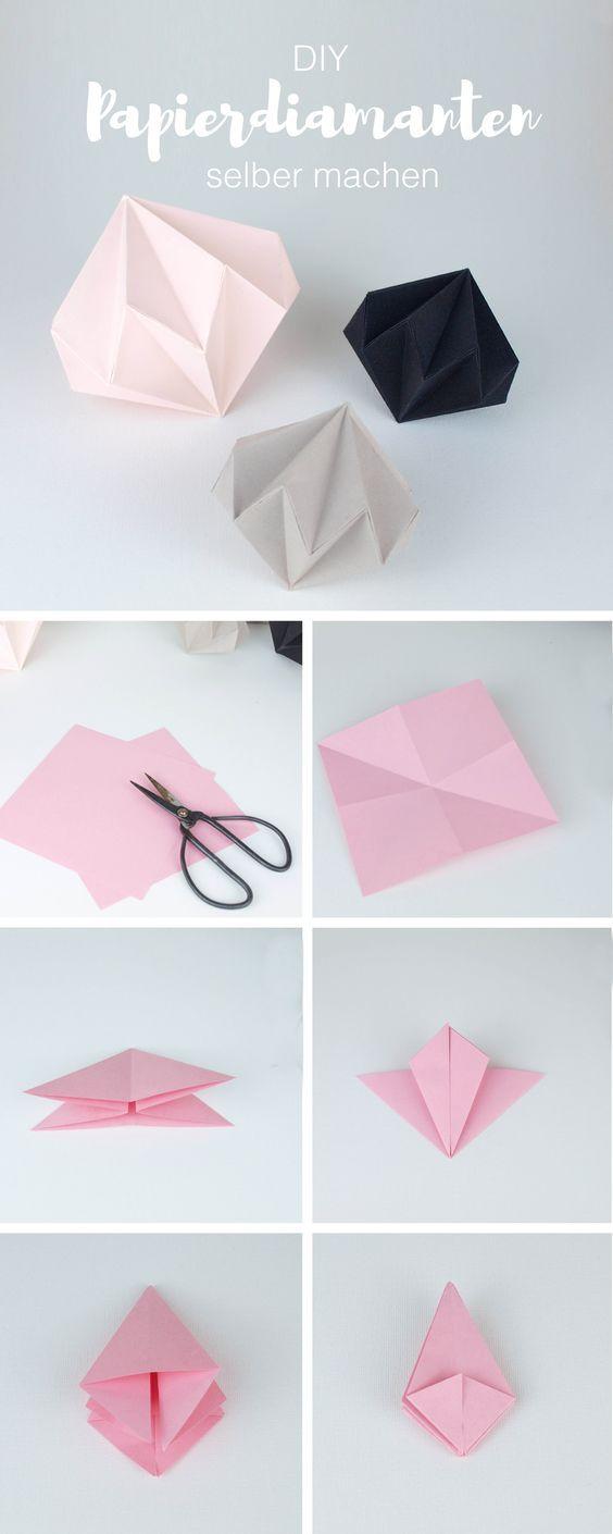 diy deko papierdiamanten selber machen mit einfacher faltanleitung deko selber machen. Black Bedroom Furniture Sets. Home Design Ideas
