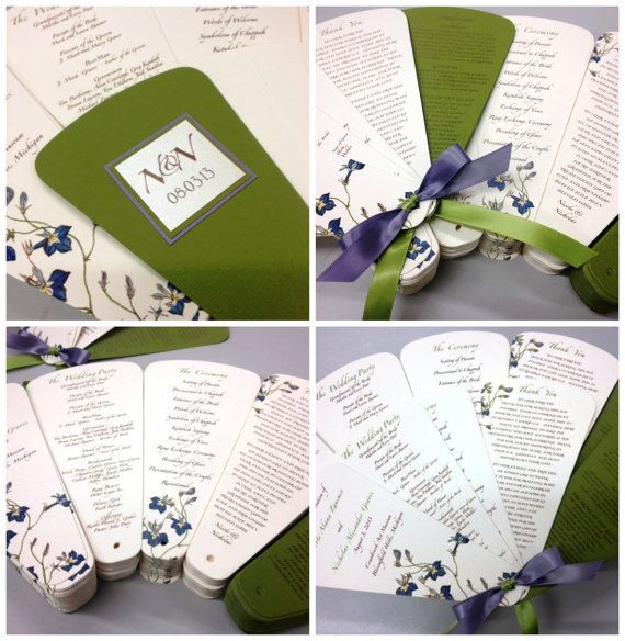 double sided wedding program petal fan with ribbon and design