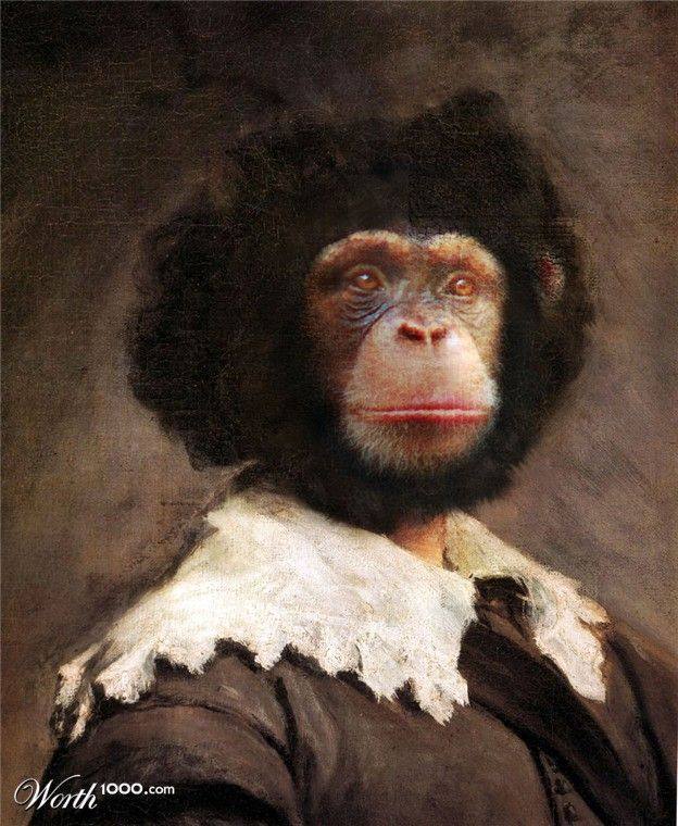 MR MONKEY QUIRKY ANIMAL PORTRAIT Art Print Poster Weird Funny Vintage Pink