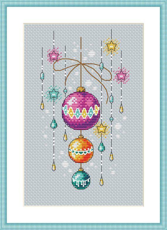 Photo of Christmas balls cross stitch pattern, cross stitch pattern modern, cross stitch pattern winter, cross stitch pattern PDF instant download