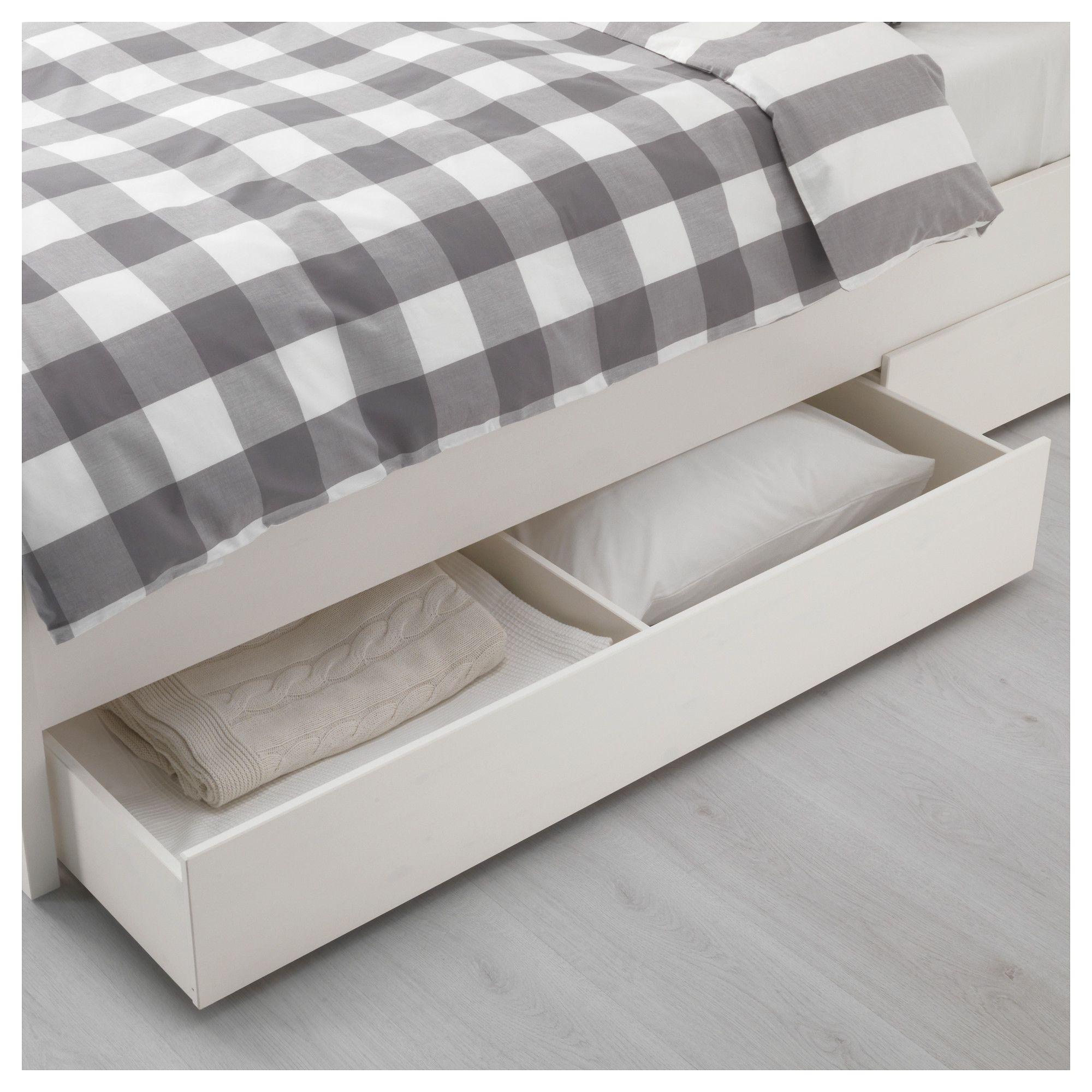 Ikea Hemnes Bed Frame With 4 Storage Boxes White Stain Espevar