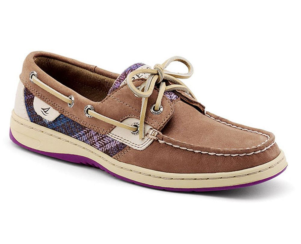 9677ac32269 Sperry Women s Bluefish 2-Eye Greige Leather Purple Plaid Discover style  and casual comfort in the sporty Bluefish 2-Eye from Sperry.