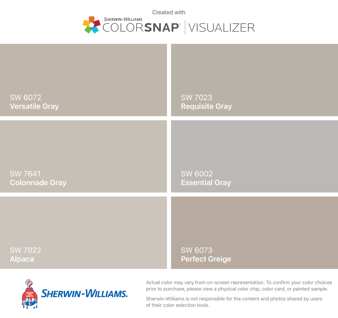 I Found These Colors With Colorsnap Visualizer For Iphone By Sherwin Williams Versatile Gray